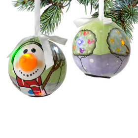 Personalized Carrot Nose Snowman Christmas Ornament