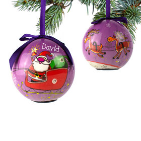 Personalized Santa Sleigh with Reindeer Christmas Ornament