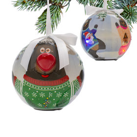 Personalized Blinking Nose Bear Christmas Ornament