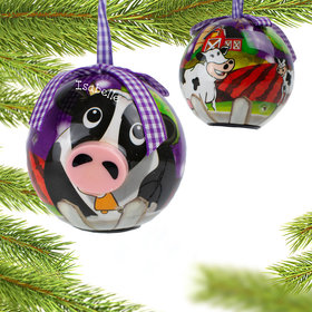 Personalized Blinking Nose Cow Christmas Ornament