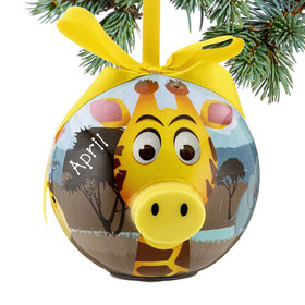Personalized Blinking Nose Giraffe Christmas Ornament