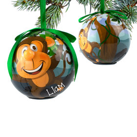 Personalized Blinking Nose Monkey Christmas Ornament