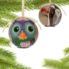 Personalized Blinking Nose Owl Christmas Ornament