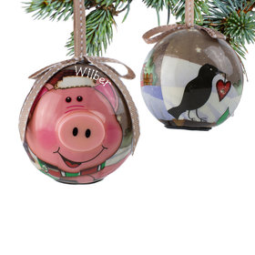 Personalized Blinking Nose Pig Christmas Ornament