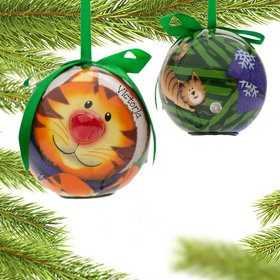 Personalized Blinking Nose Kitten Christmas Ornament