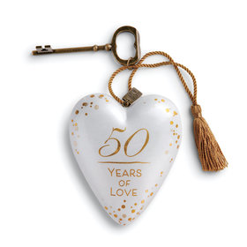 Personalized 50 Years of Love Heart Christmas Ornament