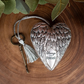 Personalized Always and Forever Sculpted Wings Heart Christmas Ornament
