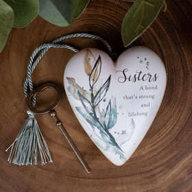 Personalized Sisters, A Bond that's Strong Heart Christmas Ornament