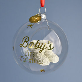Personalized 2021 Baby's First Christmas Booties Ornament Christmas Ornament