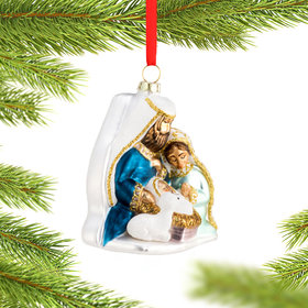 Blown Glass Holy Family Christmas Ornament