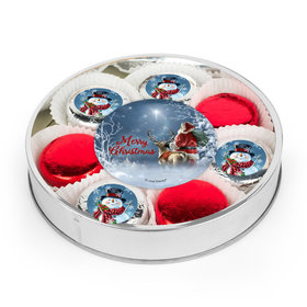 Merry Christmas Snowman Chocolate Covered Oreo Cookies Large Plastic Tin