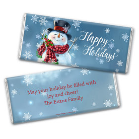 Personalized Christmas Jolly Snowman Chocolate Bar Wrappers Only