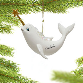 Personalized Norwhale with Star Christmas Ornament