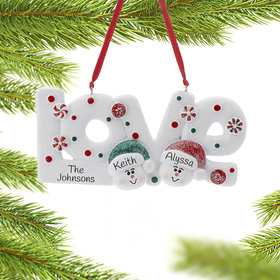 Personalized Love Word Couple Christmas Ornament