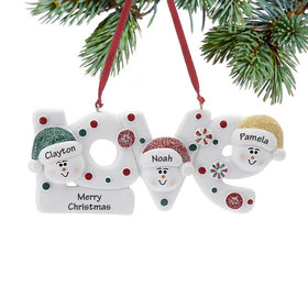 Personalized Love Word Family of 3 Christmas Ornament