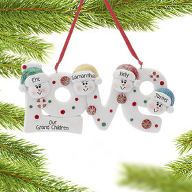 Personalized Love Word Family of 4 Christmas Ornament