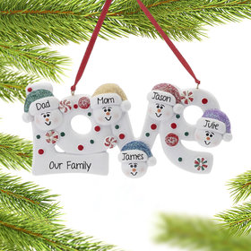 Personalized Love Word Family of 5 Christmas Ornament