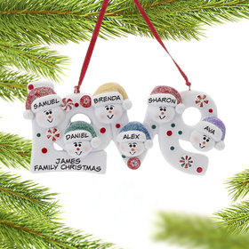 Personalized Love Word Family of 6 Christmas Ornament