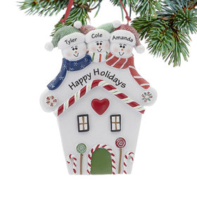 Personalized Red Heart House Family of 3 Christmas Ornament