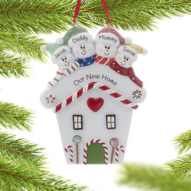 Personalized Red Heart House Family of 4 Christmas Ornament