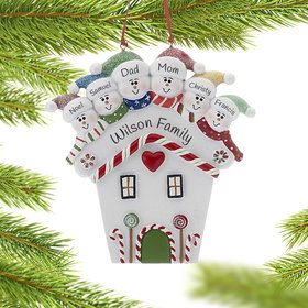 Personalized Red Heart House Family of 6 Christmas Ornament