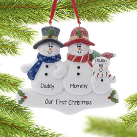 Personalized Holly Snowman Family of 3 Christmas Ornament