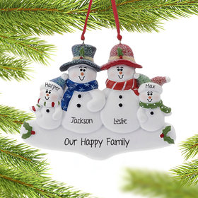 Personalized Holly Snowman Family of 4 Christmas Ornament