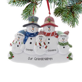 Personalized Holly Snowman Family of 5 Christmas Ornament