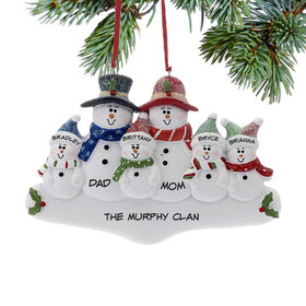 Personalized Holly Snowman Family of 6 Christmas Ornament