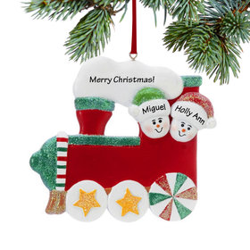 Personalized Red Train Couple Christmas Ornament