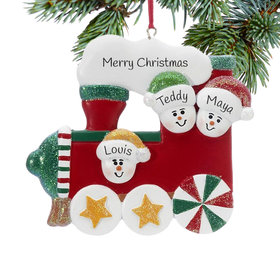 Personalized Red Train Family of 3 Christmas Ornament