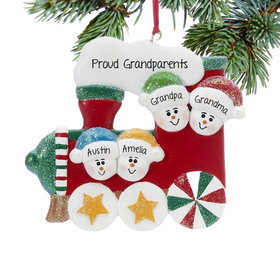 Personalized Red Train Family of 4 Christmas Ornament