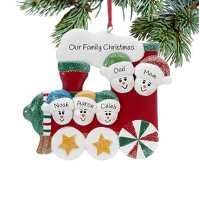 Personalized Red Train Family of 5 Christmas Ornament