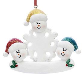 Snowman Snowflakes Family of 3 Christmas Ornament