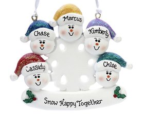 Personalized Snowman Snowflakes Family of 5 Christmas Ornament