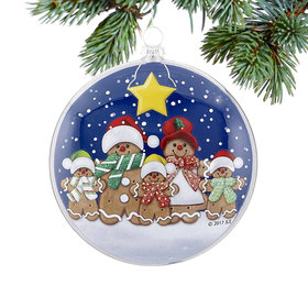 Glass Disc Gingerbread Family of 5 Christmas Ornament