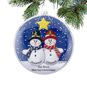 Personalized Glass Disc Snowman Couple Christmas Ornament
