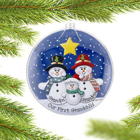 Personalized Glass Disc Snowman Family of 3 Christmas Ornament