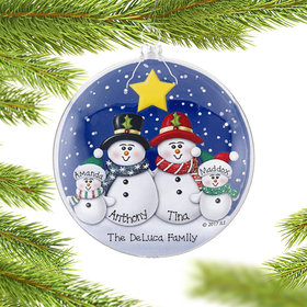 Personalized Glass Disc Snowman Family of 4 Christmas Ornament