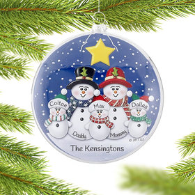 Personalized Glass Disc Snowman Family of 5 Christmas Ornament