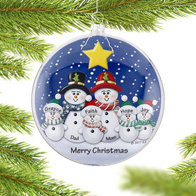 Personalized Glass Disc Snowman Family of 6 Christmas Ornament