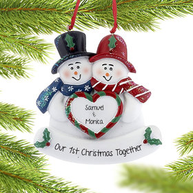 Personalized Snowman Couple Holding Heart Christmas Ornament