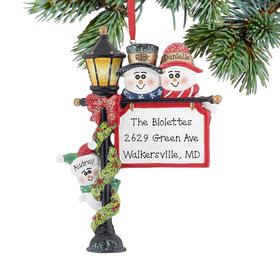 Personalized Lamppost Family of 3 Christmas Ornament