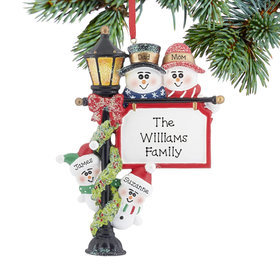 Personalized Lamppost Family of 4 Christmas Ornament