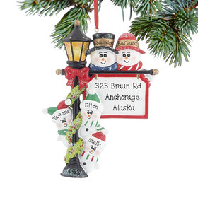 Personalized Lamppost Family of 5 Christmas Ornament