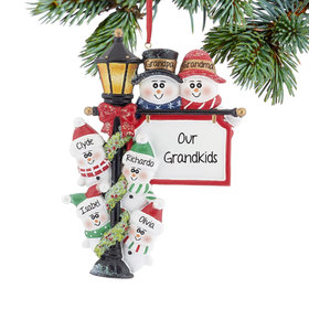 Personalized Lamppost Family of 6 Christmas Ornament