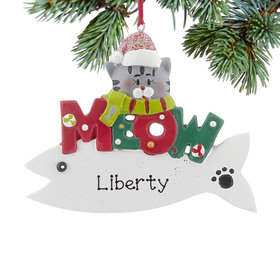 Personalized Meow Cat Fish (Grey) Christmas Ornament