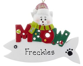 Personalized Meow Cat Fish (White) Christmas Ornament