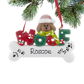 Personalized Woof Dog Bone (Brown) Christmas Ornament