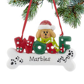Personalized Woof Dog Bone (Tan) Christmas Ornament
